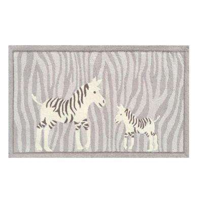 Papa and Me Gray 3 ft. x 5 ft. Indoor Area Rug