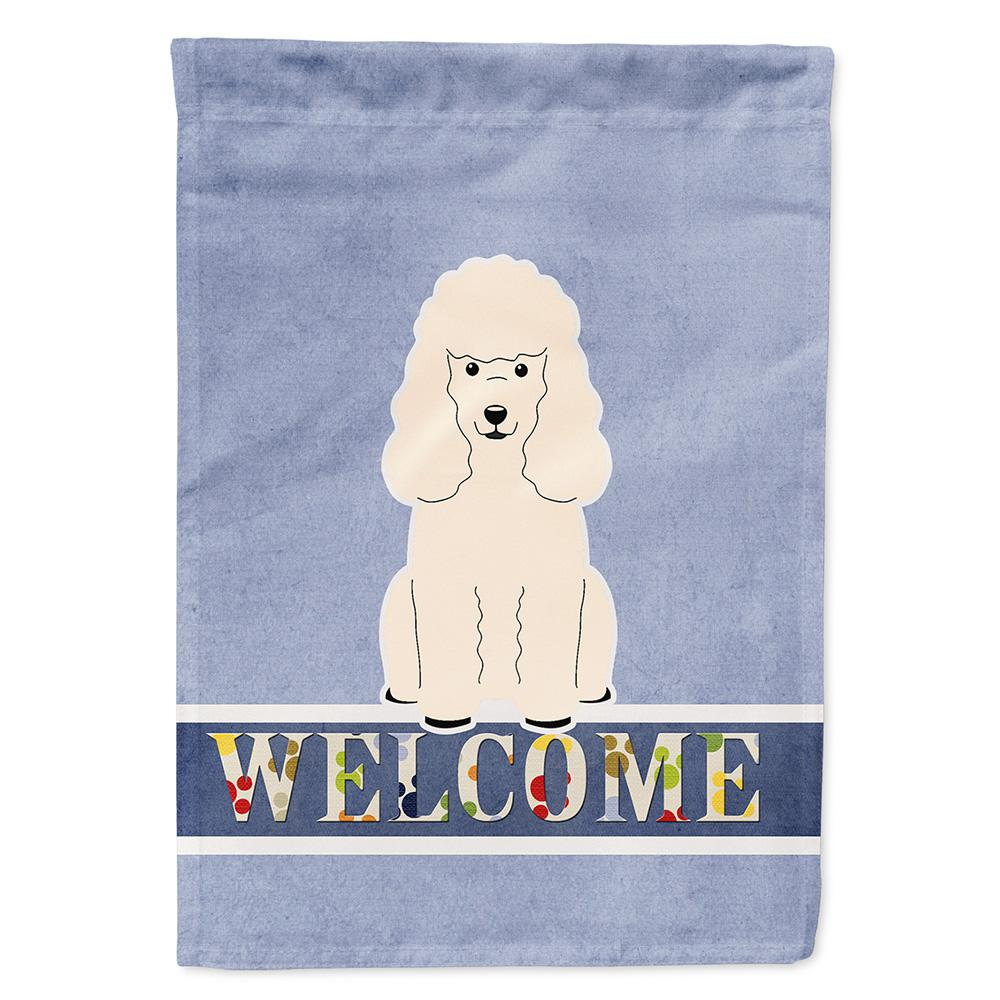 11 in. x 15-1/2 in. Polyester Poodle White Welcome 2-Sided 2-Ply