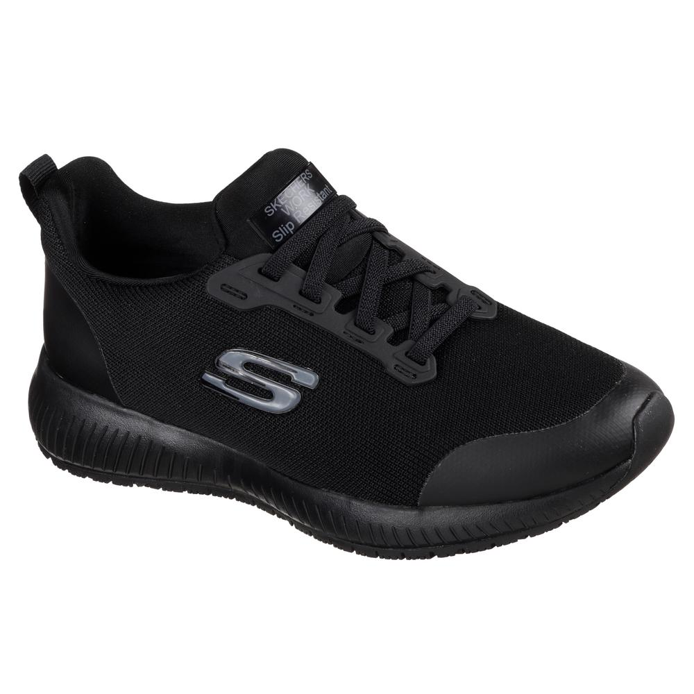 f2a1edb263858 Skechers Squad SR Women Size 12 Black Fabric Work Shoe-77222-12 ...
