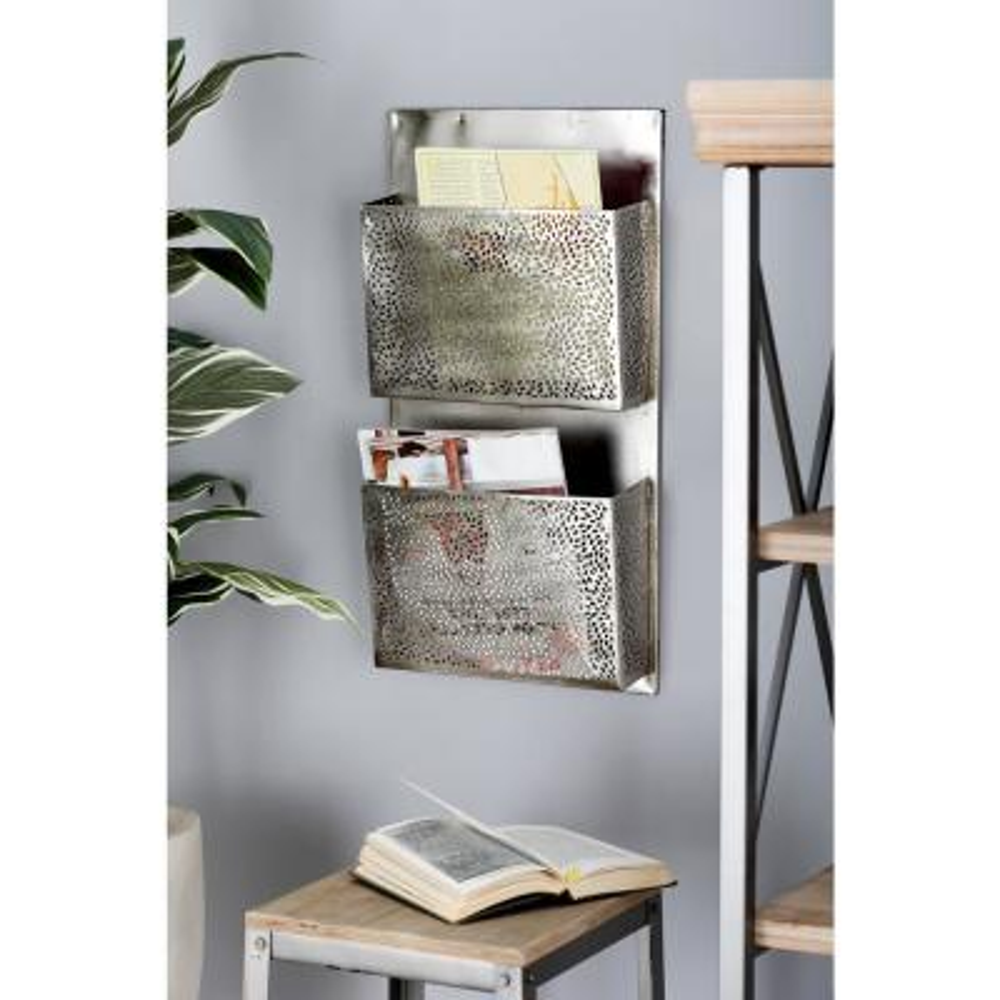 LITTON LANE Gray Iron Perforated-Designed 2-Pocket Letter Holder