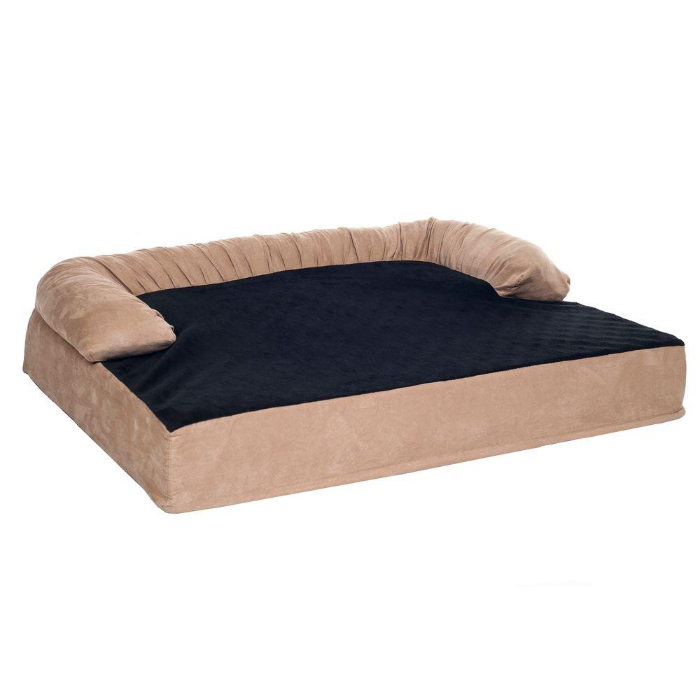 Small Tan Orthopedic Memory Foam Pet Bed with Bolster