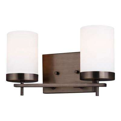 Zire 14 in. W 2-Light Brushed Oil Rubbed Bronze Vanity Light with Etched White Glass Shades with LED Bulbs