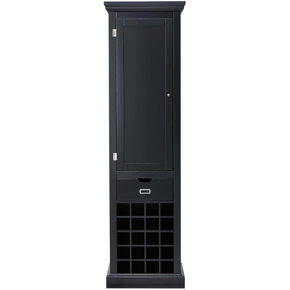 Prescott Solid Black Modular Kitchen Pantry with Wine Rack