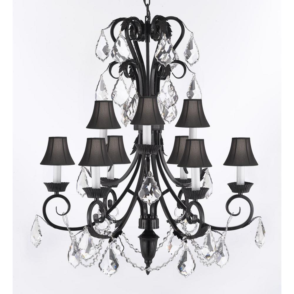Empress Iron And Crystal 9 Light Black Chandelier With Shades