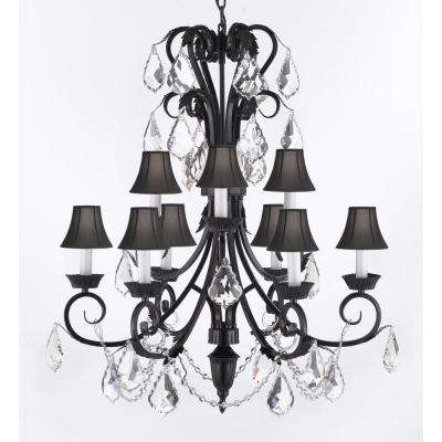 Black crystal chandeliers lighting the home depot empress iron and crystal 9 light black chandelier with black shades aloadofball Image collections