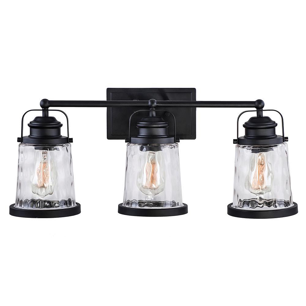DSI Lighting DSI Lighting 24 in. 3-Light Black Vanity Light with Water Glass Shades
