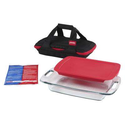 Easy Grab 4-Piece Portable Glass Bakeware Set with Red Lid