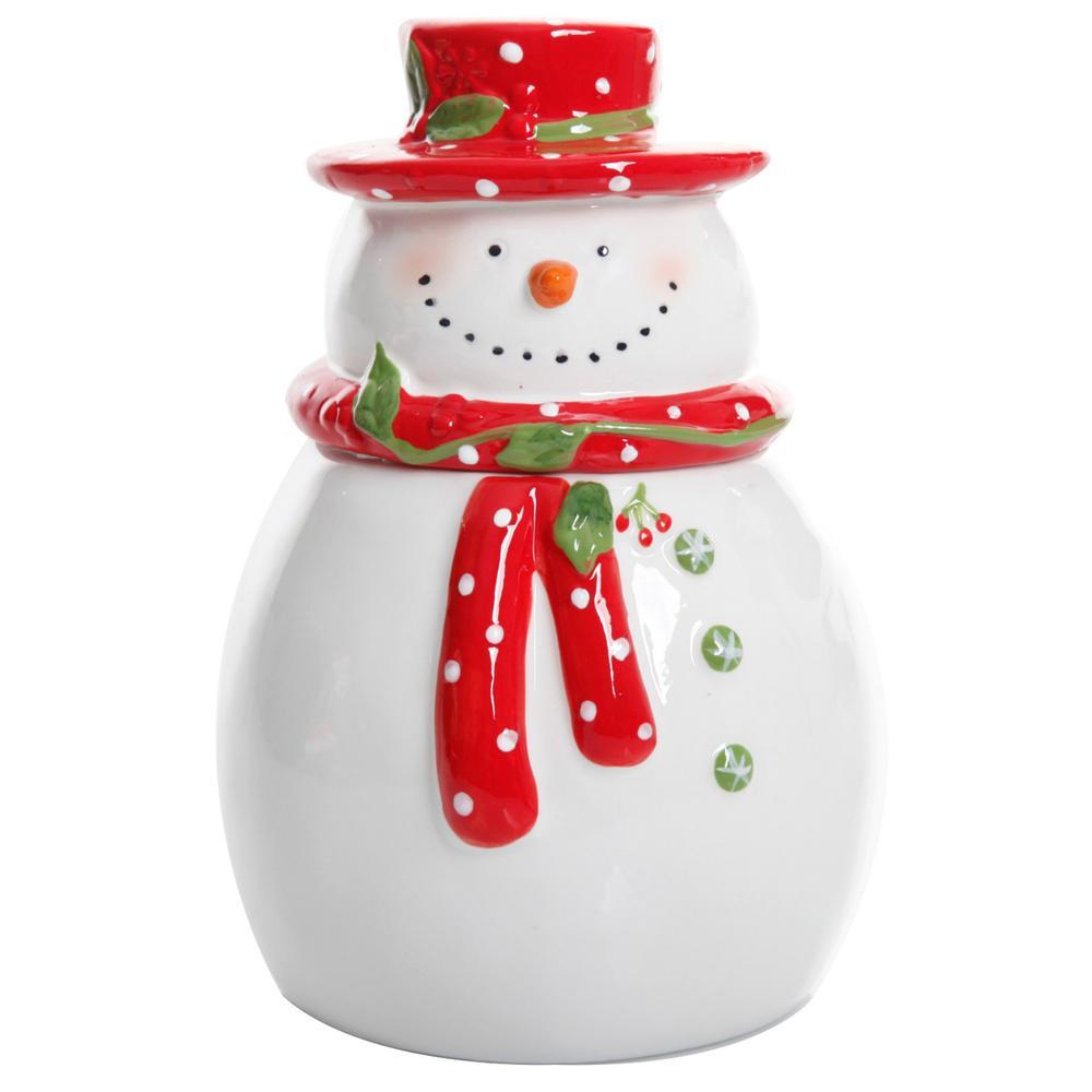 Gibson Home Jolly Plenitude Snowman Stoneware Cookie Jar 985100751M