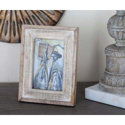 1-Opening 6 in. x 8 in. Rustic Brown and White Picture Frame