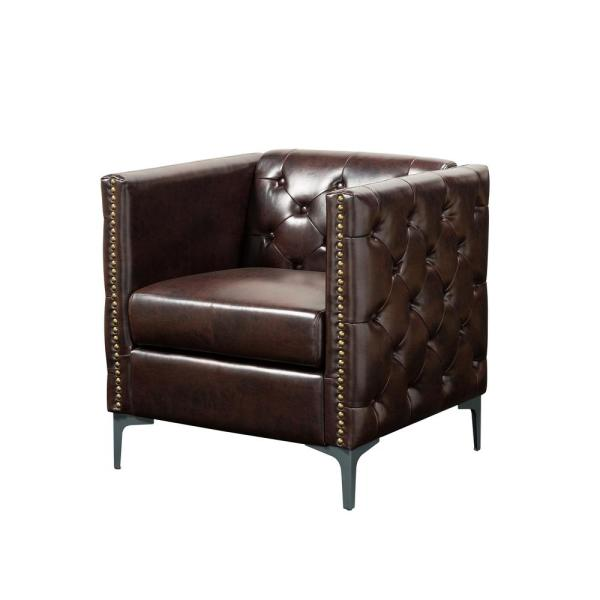 Adner Brown Leather Tufted Accent Chair