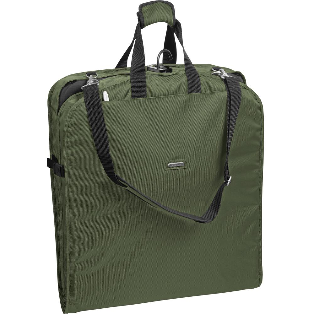 42 in. Olive Suit Length Carry-On Garment Bag with 2-Pockets and