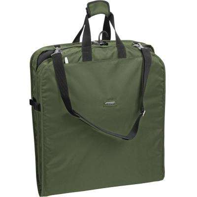 42 in. Olive Suit Length Carry-On Garment Bag with 2-Pockets and Shoulder Strap