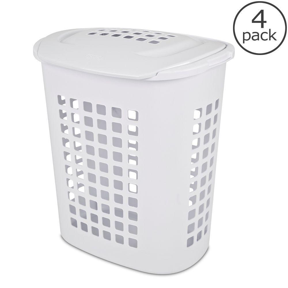 Sterilite 2.3 Bushel White Laundry Hamper (4-Pack)