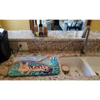 14 in. x 21 in. Multi-Color Cat - Maine Coon Dish Drying Mat