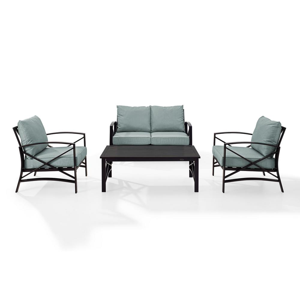 Cool Kaplan 4 Piece Metal Patio Outdoor Seating Set With Mist Cushion Loveseat 2 Chairs Coffee Table Ocoug Best Dining Table And Chair Ideas Images Ocougorg