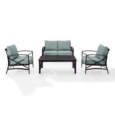 Kaplan 4-Piece Metal Patio Outdoor Seating Set with Mist Cushion - Loveseat, 2-Chairs, Coffee Table