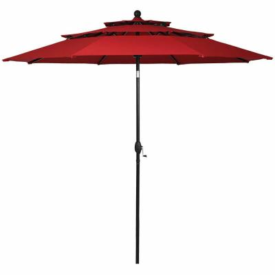10 ft. 3-Tier Aluminum Sunshade Shelter Double Vent Market Patio Umbrella in Burgundy