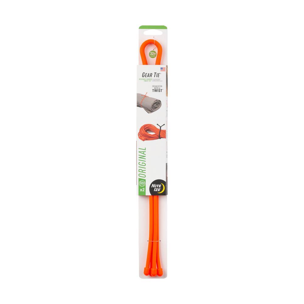 32 in. Gear Tie in Bright Orange (2-Pack)