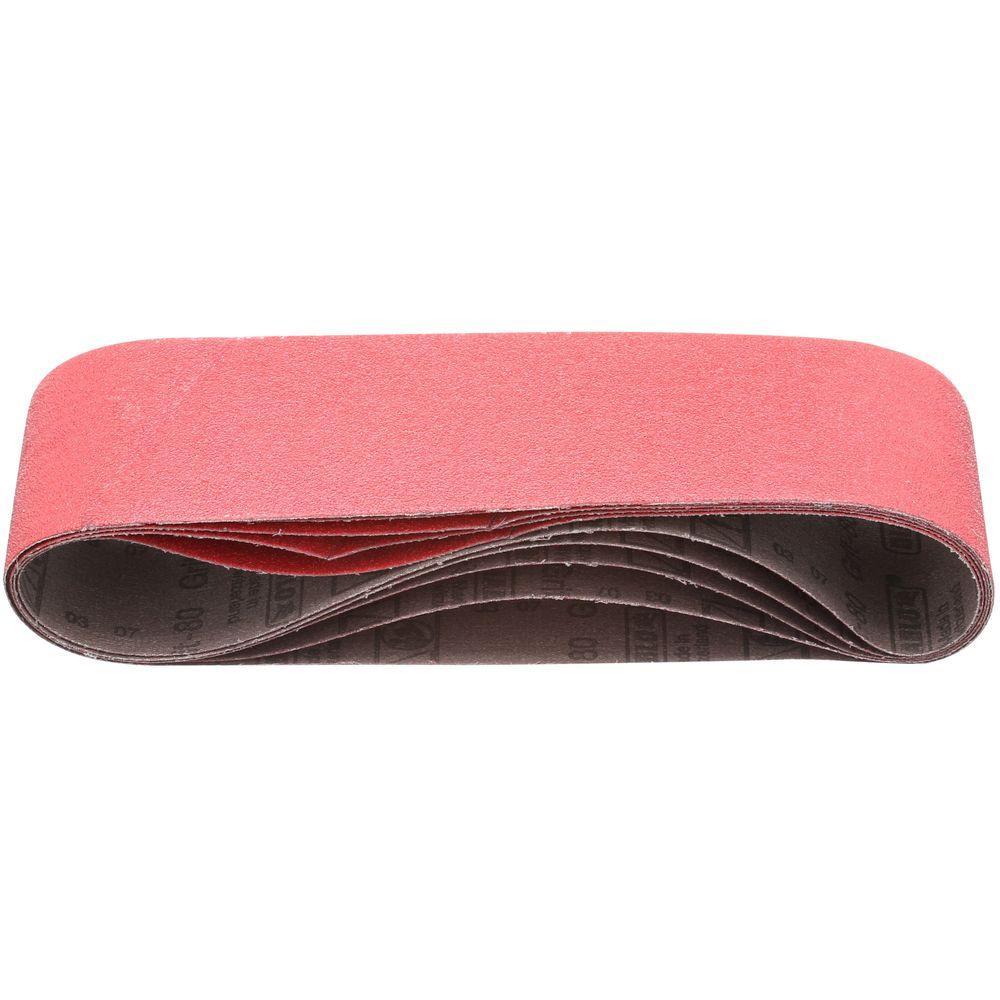 3 in. x 21 in. 80-Grit Sanding Belt (5-Pack)