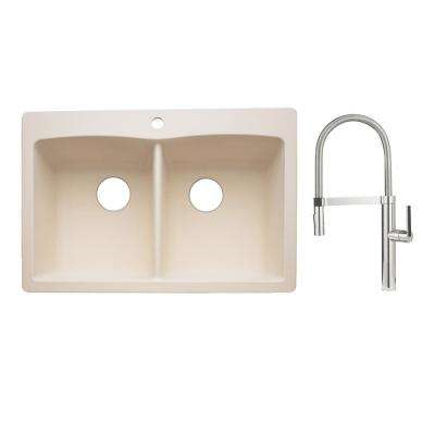 Diamond Dual-Mount Granite Composite II 33 in. 1-Hole 50/50 Double Bowl Kitchen Sink with Faucet in Chrome