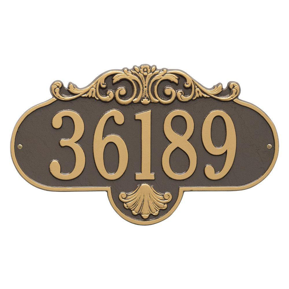 Whitehall Products Oval Rochelle Grande Bronze/Gold Wall 1-Line Address Plaque