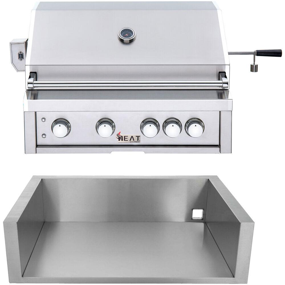 Cambridge 32 in. 4-Burner Natural Gas Grill in Stainless with Jacket