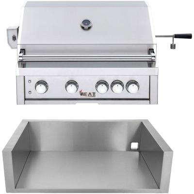 32 in. 4-Burner Natural Gas Grill in Stainless with Jacket