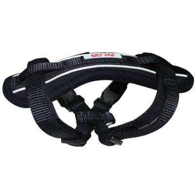 Medium Black Mountaineer Chest Compression Adjustable Reflective Easy Pull Dog Harness
