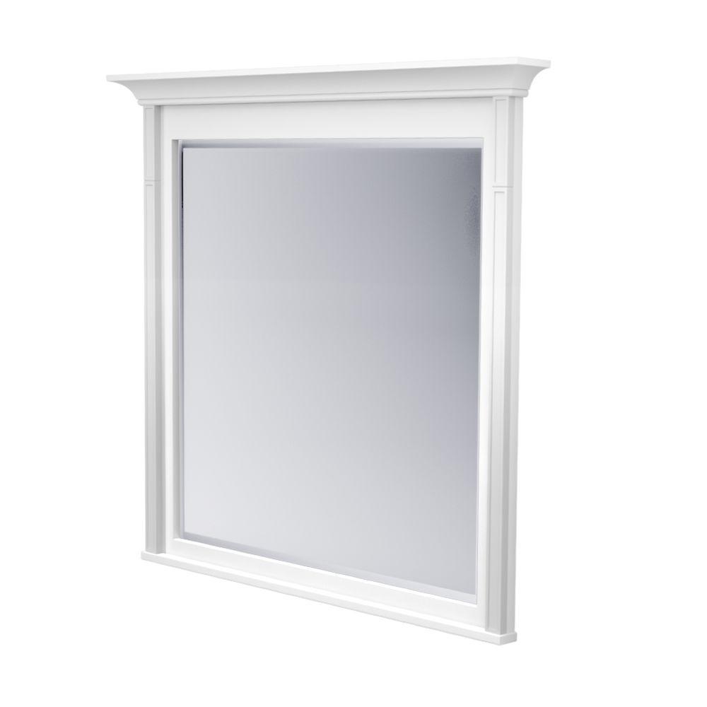 42 in. L x 42 in. W Framed Wall Mirror in Dove White