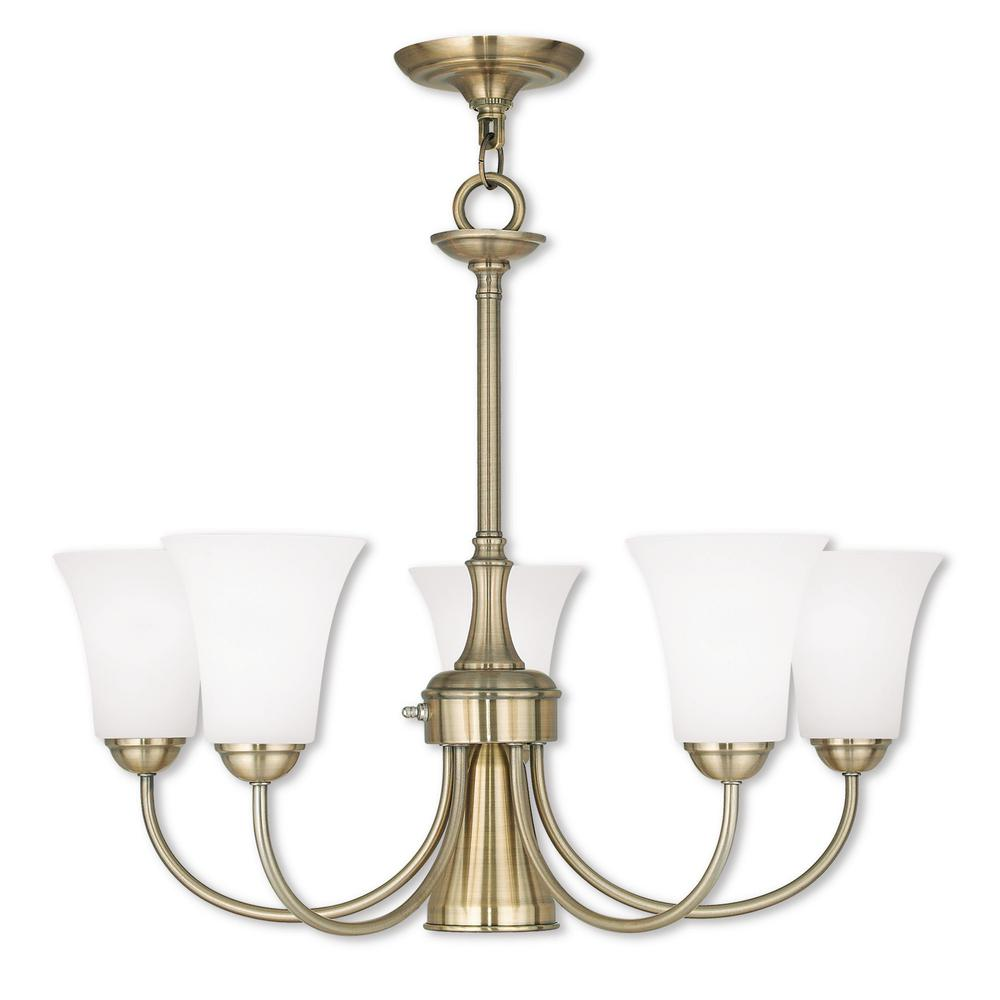 Livex Lighting Ridgedale 6-Light Antique Brass Chandelier ...
