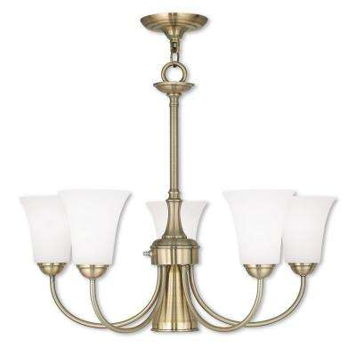 Ridgedale 6-Light Antique Brass Chandelier with Satin Opal White Glass Shade