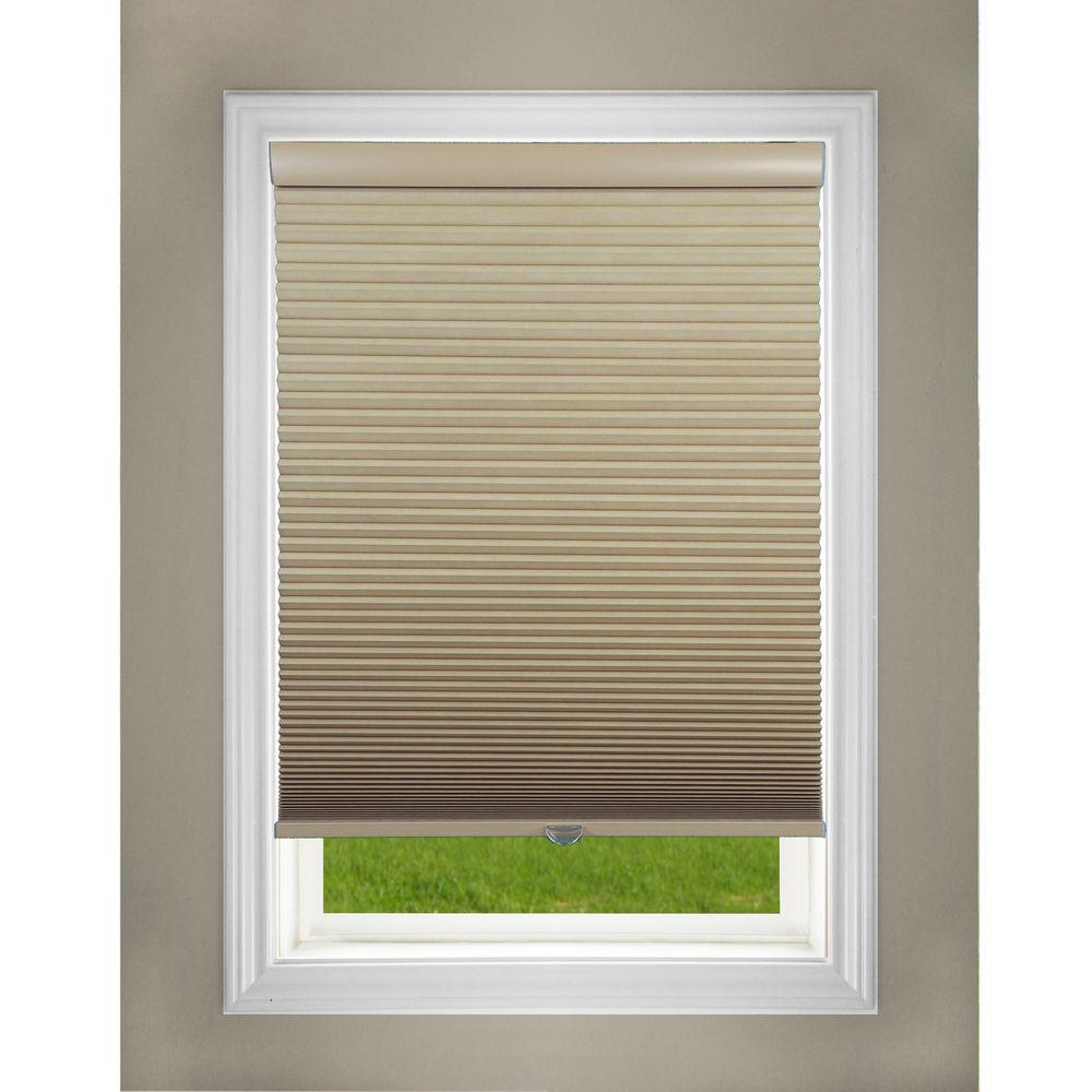 Perfect Lift Window Treatment Cut To Width Khaki 1 5in Blackout Cordless Cellular Shade 56in W X 72in L Actual Size 56in W X 72in L Qekk560720 The Home Depot
