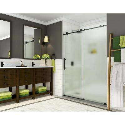 Coraline 56 in. to 60 in. x 76 in. Frameless Sliding Shower Door with Frosted Glass in Matte Black