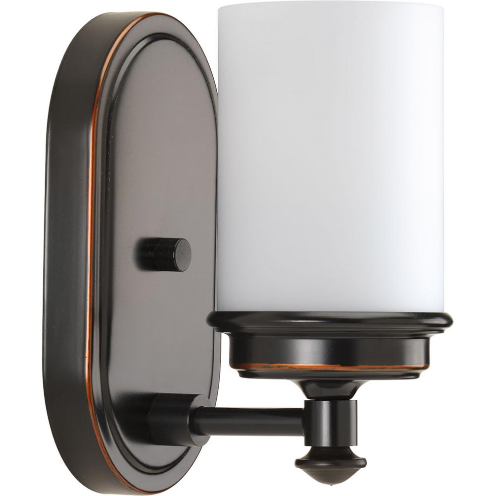Progress Lighting Glide Collection 1 Light Rubbed Bronze Bath Sconce With Opal Glass Shade