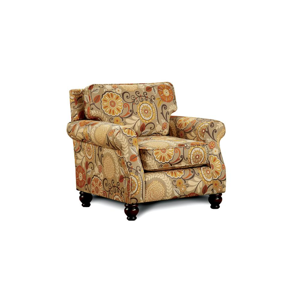 Williams home furnishing rollins tan and pattern transitional style living room chair sm8110 ch ke the home depot