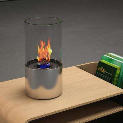 Lit 6 in. Vent-Free Ethanol Fireplace in Stainless steel