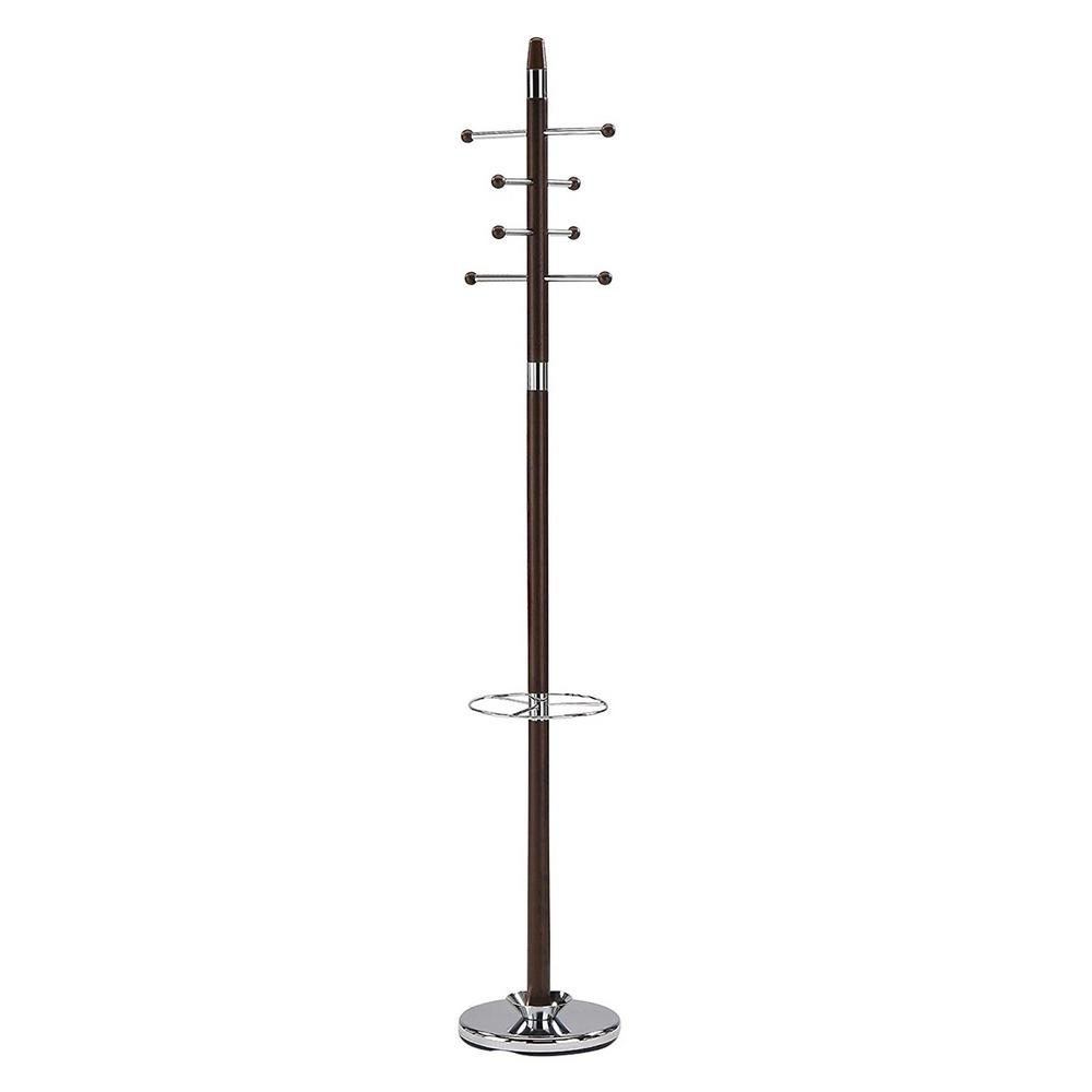 Walnut and Chrome 8-Hook Hall Tree with Umbrella Holder