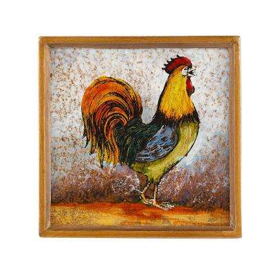 4 in. 4-Piece Square Rooster Coaster Set