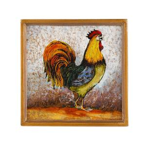 4 inch 4-Piece Square Rooster Coaster Set by