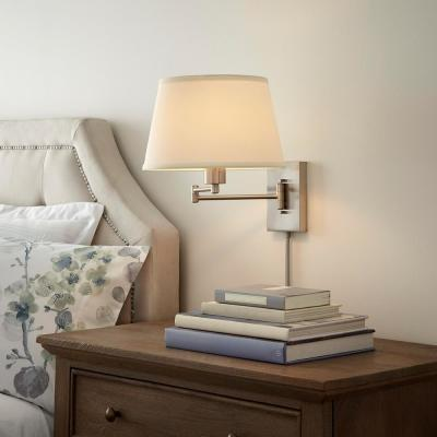 Hutchinson 1-Light Brushed Nickel Swing Arm Sconce with White Fabric Shade