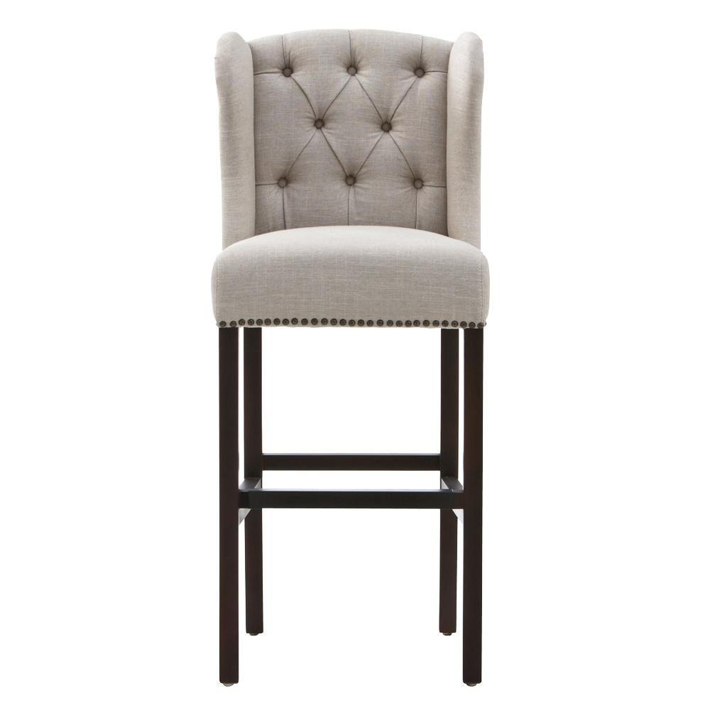 Home Decorators Collection Madelyn 31.25 in. Tan Cushioned Bar Stool in Espresso
