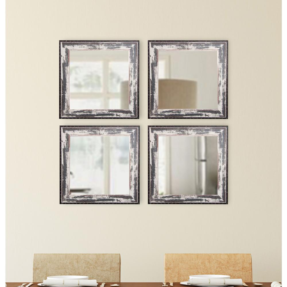 Rustic seaside square wall mirrors set of 4