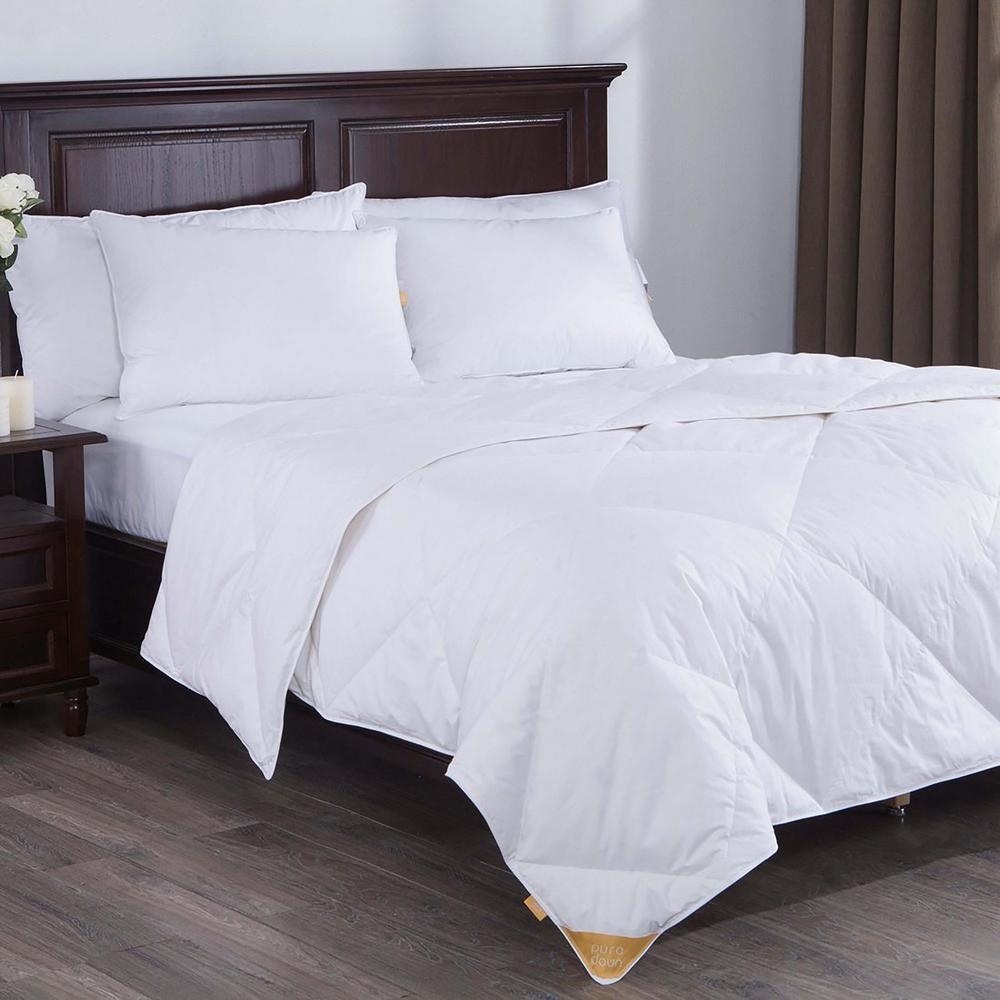 Lightweight White Goose Down Blend Comforter King in White
