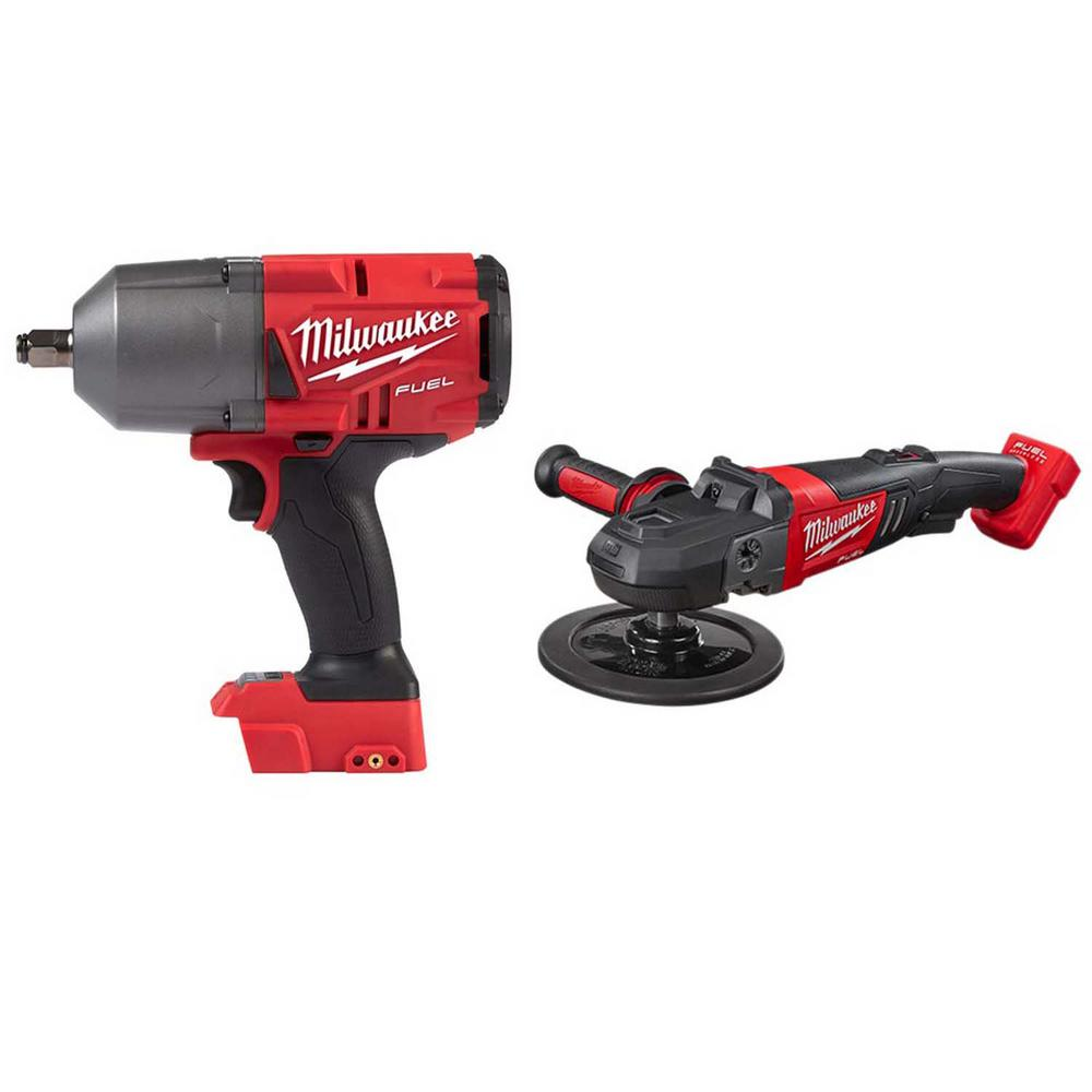 Milwaukee M18 FUEL 18-Volt Lithium-Ion Brushless Cordless 1/2 in. Impact Wrench with Friction Ring & 7 in. Variable Speed Polisher