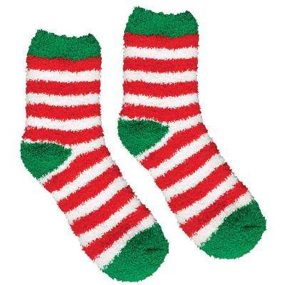 13.5 in. Striped Christmas Fuzzy Socks (2-Count, 4-Pack)