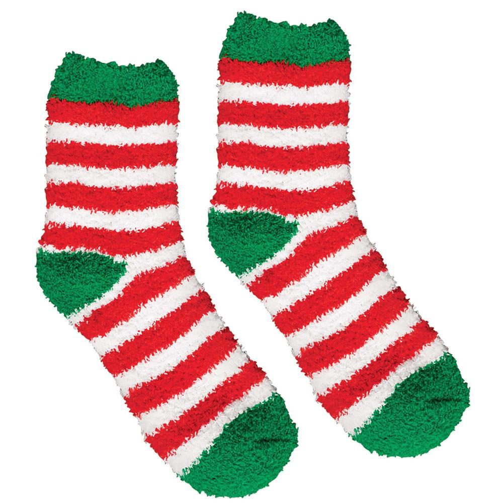 Christmas Fuzzy Socks.Amscan 13 5 In Striped Christmas Fuzzy Socks 2 Count 4 Pack