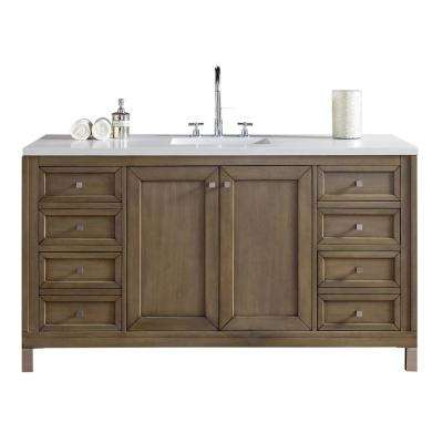 Chicago 60 in. W Single Vanity in Whitewashed Walnut with Quartz Vanity Top in White with White Basin