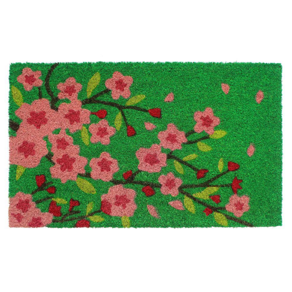Pink 18 in. x 30 in. Pink Floral Tree Coir Door Mat