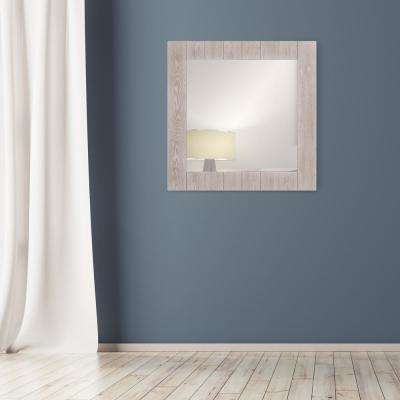 Wood Plank Square Distressed White Decorative Wall Mirror
