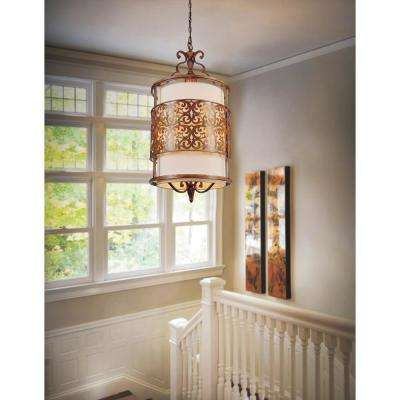 Nicole 3-Light Brushed Chocolate Chandelier with Beige shade